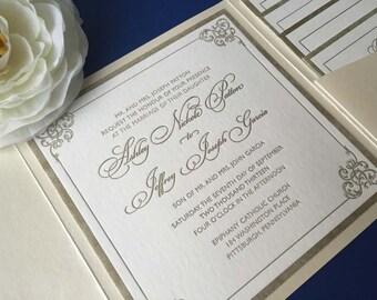 SAMPLE Wedding Invitation, Gold and Ivory Wedding Invitation, Pocket Wedding Invitation, Classic Wedding Invitation, Wedding Invitation Set
