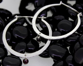 92.5 Sterling Silver Garnet Hoop Earrings