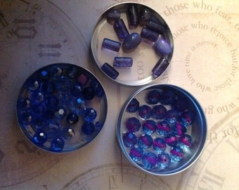 63pc Blue Irredescent Beads Mixed Lot Assorted Shapes and mm bundle NEW