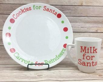Santa Christmas Cookie Plate and Mug Set - Cookies for Santa Plate - Milk for Santa Mug - Merry Christmas - Christmas Decorations