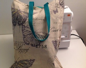 Handmade Butterflyl Canvas Tote Bag with Green Lining