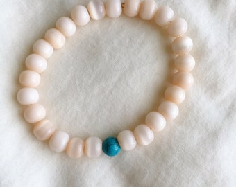 Turquoise and Light Peach Bracelet
