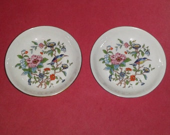 "2 Vintage AYNSLEY Pembroke Bone China Nut & Candy Dishes (4.5"") ~ Made in England"
