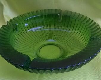 Vintage Blenko glass round avocado green large ashtray