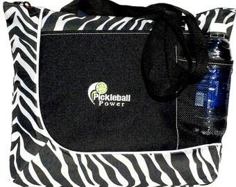Zipper Top Tote Bag-New/Embroidered - Zebra Stripe