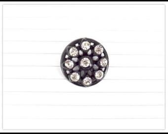 Pretty Black Plastic Rhinestone Open Dome Button - Shank Button - Rhinestone Crystal Button