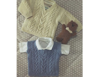 Childrens Sweater and Pullover PDF Knitting Pattern : Slipover . Jumper . Boy or Girl 16, 18, 20, 22, 24, 26 & 28 inch chest . DK . Cable