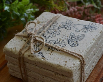 Flowers and Butterfly Hand Made Travertine Tile Coaster
