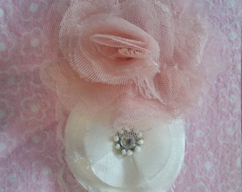 Pink Rose and White Flower Headband