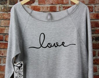 love Shirt. Off The Shoulder T-Shirt. Mom Slouchy Tee. Birthday Gift For Wife. Slouchy T-Shirt. Fiance Shirt. Engagement Shirt