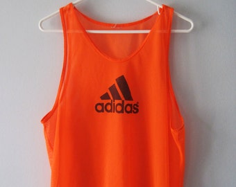 VINTAGE ADIDAS Orange Fluo Mesh Vest / Tank Top Sporty Rave - size M