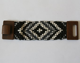 Handmade Seed Bead Bracelet with wooden clasp. Black Silver and White Diamond Design FREE US SHIPPING