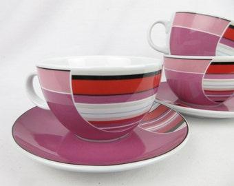 Vintage Seltmann Weiden Cups / Saucers Set, Pink Art Deco Circles, Bavaria Germany