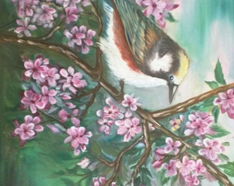 Bird on branch - oil painting