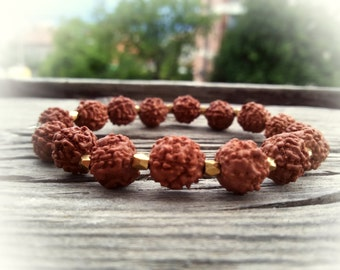 Rudraksha bracelet Buddhist jewelry Rudraksha wrist mala Meditation bracelet for Men Spiritual jewelry Earthy bracelet Energy stretch Yoga