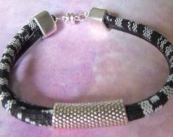Black and White Ethnic Woven Bracelet