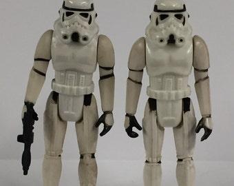 2 Vintage Star Wars Stormtroopers with 1 Gun