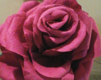 GIANT BURGANDY ROSE -  Handcrafted Crepe Paper