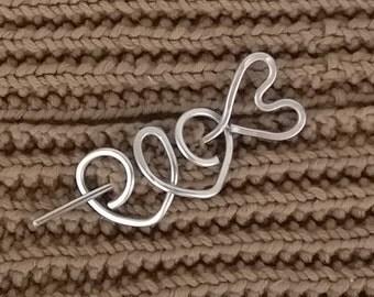 Silver Hair Clip Hair Stick, Hair Barrette Hair Slide Hair Pin, Hair Accessories, Scarf pin Sweater Brooch, Shawl Pin,  Women Gift for Girls