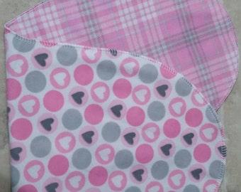 Burp cloth heart/plaid double flannel