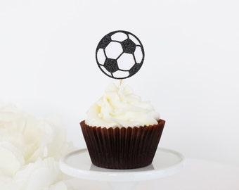 Glittery Soccer Ball Cupcake Toppers (Set of 12) - Sports Birthday Party, Sports Cupcake Topper, Team Party, Sports Party Decor