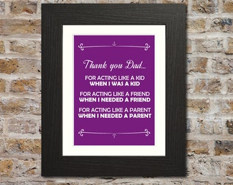 Thank You Dad Print - Sweet Father's Day Gift, Fathers Day Present, Gift for dad gift, Fathers Day Gift, Wall Art, Fathers Day Picture