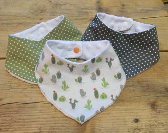 Cactus and polka set of 3 bibs 0-6 months