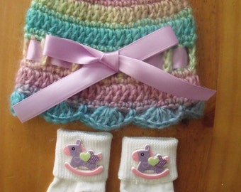Crochet Baby Pastel Color Hat, Beanie, Sunhat w/Matching Socks Set - Size 0-6 mts months - Great Baby Shower Gift! - FREE SHIPPING!