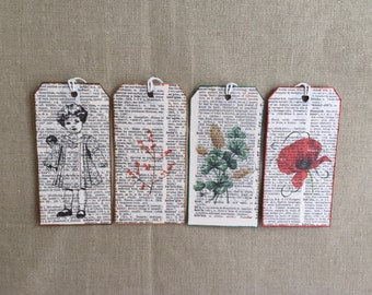 Gift Tags, Tags, Vintage Paper, Paper, Girl, Flowers