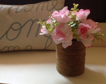 Twine Wrapped Floral Arrangement / Paper Flower Arrangement / Paper Roses Arrangement / Twine Wrapped Tin Can / Coffee Filter Flowers