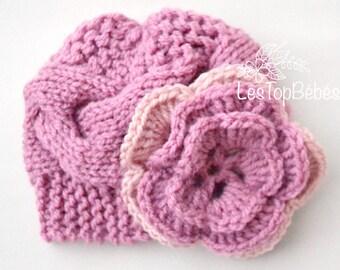 Knit Baby Girl Hat, Mauve Baby Hat, Knit Newborn Hat, Cable Baby Hats, Newborn Girl Hats, Mauve Cable Hat, Knit Baby Outfit, Newborn Outfits