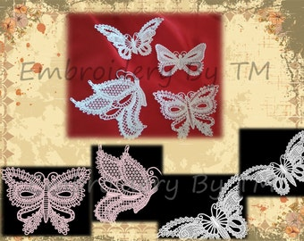 A set of butterflies-embroidery lace machine-original  lace design