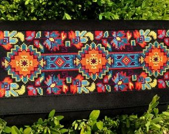 Handmade embroidered shammy leather crossbody bag