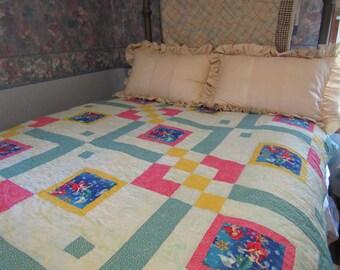 Little Mermaid quilt, homemade handmade quilt, twin bed quilt, girl quilt, girl's bedroom decor