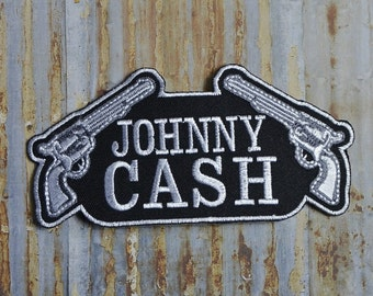 Johnny Cash Gun Music Band Iron On Sew On Patch Transfer