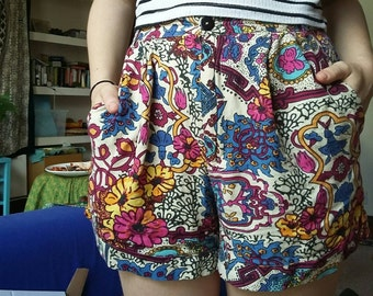 Floral High-Waist Shorts With Pockets