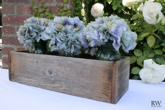 Medium Rustic Wedding Centerpiece - Reclaimed Wood - Flowers, Succulents, Ball Jars