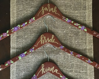 Handpainted Floral Custom Wedding Hanger, Bridesmaid Hanger, Floral