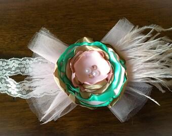 Vintage pink and Aqua headband
