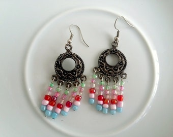 Boho Earrings, Chandelier Earrings Gypsy Earrings Tribal Earrings, Beaded Earrings, Dangle Earrings, Unique Earrings, Gypsy, Color Earrings