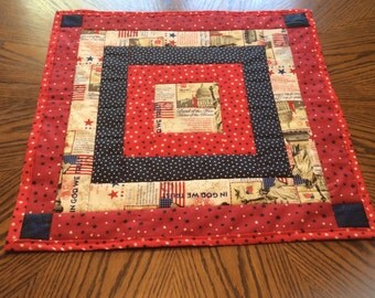 Red,white, & blue square table runner