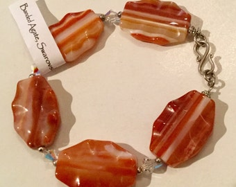 Unique Banded Agate and Swarovski Crystal Silver Bracelet