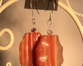 Banded Agate and Swarovski Crystal  Sterling Silver Earrings