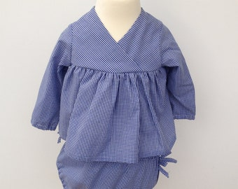 Blue Gingham Kimono and bloomers