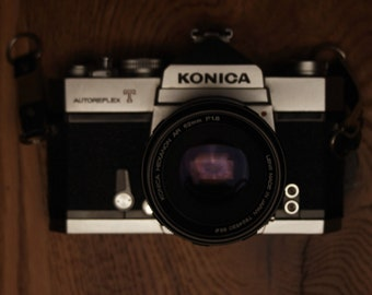 Vintage Konica Autoreflex T Film SLR Camera With Hexanon AR 52mm F1.8 Lens