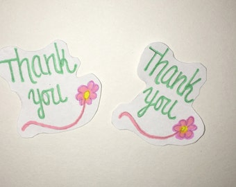Thank you sticker with flower