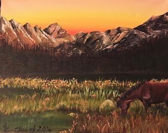 Sunset Horse/Mountain Scene