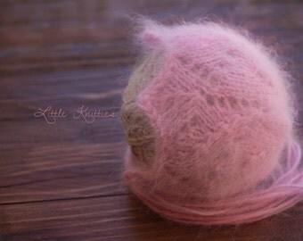Knitted Angora bonnet