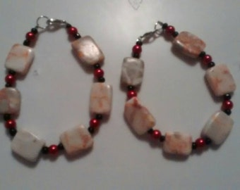 Black and red stone bracelet