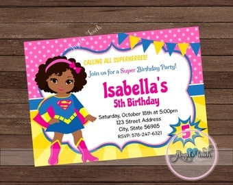 Supergirl Invitation Etsy - Birthday invitation in germany